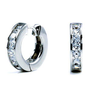 White Gold Plated CZ Small Hoops